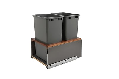 Rev-A-Shelf Orion Gray LEGRABOX and Walnut Double 50 Quart; Onion Gray