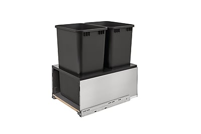 Rev-A-Shelf Orion Gray LEGRABOX and Walnut Double 50 Quart; Stainless Steel