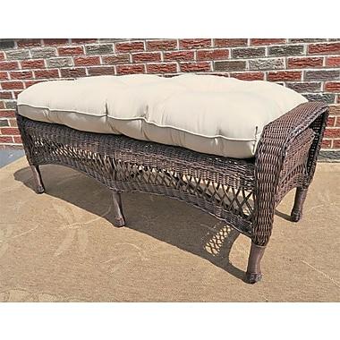 Darby Home Co Cedarvale Wicker Garden Bench; Antique Brown/Bone