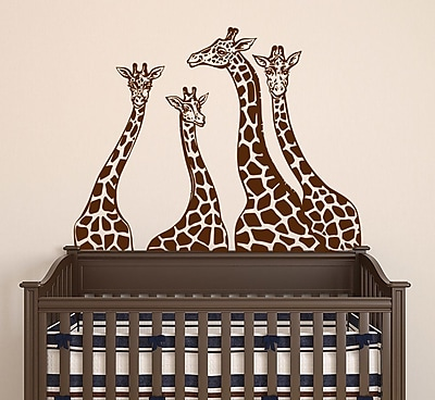 Decal House Giraffe Family Wall Decal; Brown