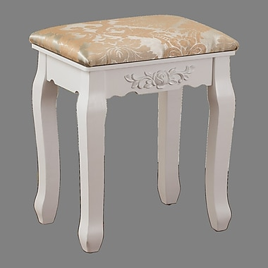 Charlton Home Bethalto Luxury Vanity stool; White
