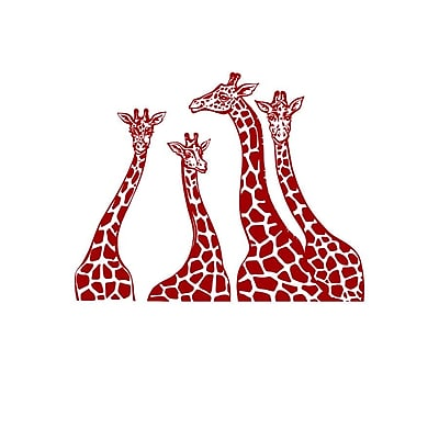Decal House Giraffe Family Wall Decal; Purple Red