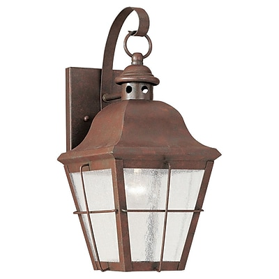 Longshore Tides Fullerton 1-Light Outdoor Wall Lantern; Weathered Copper