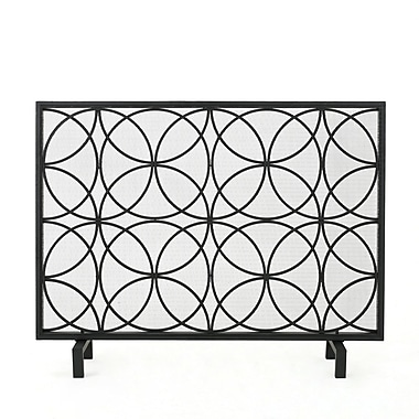 Home Loft Concepts Servais Single Panel Iron Fireplace Screen; Black