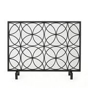 Home Loft Concepts Servais Single Panel Iron Fireplace Screen; Black