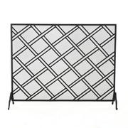 Home Loft Concepts Fleming Single Panel Iron Fireplace Screen; Black