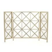 Home Loft Concepts Bogar 3 Panel Iron Fireplace Screen; Gold