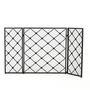Home Loft Concepts Acta 3 Panel Iron Fireplace Screen; Black