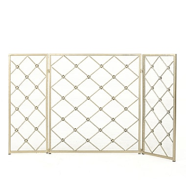 Home Loft Concepts Acta 3 Panel Iron Fireplace Screen; Gold
