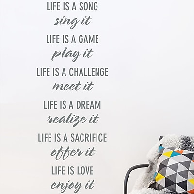 Wallums Wall Decor 'Life Is' Quote Wall Decal; Gray