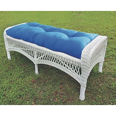 Darby Home Co Cedarvale Wicker Garden Bench; White/Coral