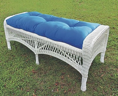 Darby Home Co Cedarvale Wicker Garden Bench; White/Coral