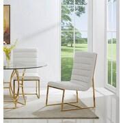 Orren Ellis J.J. Upholstered Dining Chair (Set of 2); Gold/White