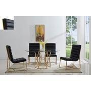 Orren Ellis J.J. Upholstered Dining Chair (Set of 2); Gold/Black