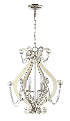 Rosdorf Park Bismark 4-Light Foyer Pendant; Polished Nickel
