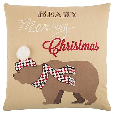 The Holiday Aisle Holiday Snow Bear 100pct Cotton Throw Pillow