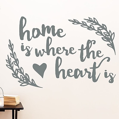 Wallums Wall Decor Where the Heart Is Quote Wall Decal; Gray