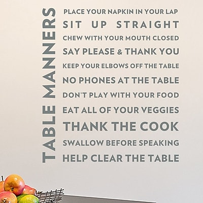 Wallums Wall Decor Table Manners Quote Wall Decal; Gray