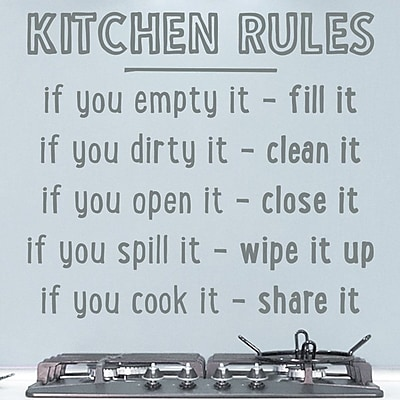 Wallums Wall Decor Kitchen Rules Quote Wall Decal; Gray