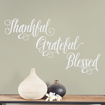 Wallums Wall Decor Thankful Grateful Blessed Wall Decal; White