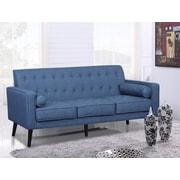 George Oliver Valadez Mid Century Tufted Sofa; Ocean Blue
