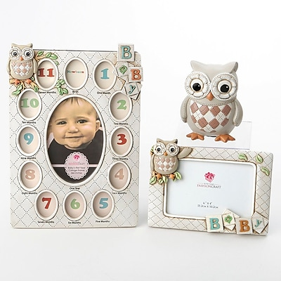 Harriet Bee Baxter 3 Piece Vintage Owl Polyresin Picture Frame Set