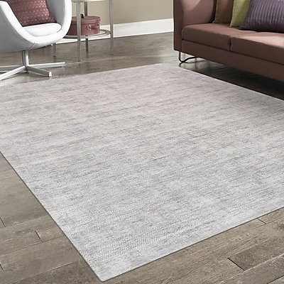 Pasargad Transitiona Texture Hand Loomed Silk Silver Area Rug