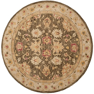 Alcott Hill Tinley Hand-Tufted Wool Olive Gray Area Rug; Round 6'
