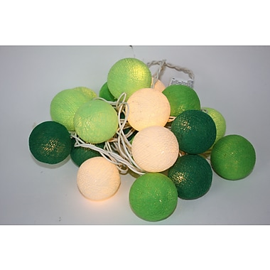 Lighted Elements 20 Light In and Out Door Cotton Ball String Lighting Green, Cream and Light Green, 9ft (LE-401-GRUL)