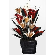 Lighted Elements Lotus Table-Top Floral Arrangement with Mango Wood Vase (LE-303)