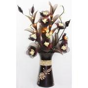 Lighted Elements Rose Table-Top Floral Arrangement with Mango wood Vase (LE-306)