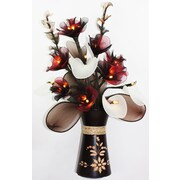Lighted Elements Cala Lily Rose Table-Top Floral Arrangement with Mango wood Vase (LE-307)