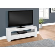 "Monarch Specialties 2 Storage Drawers TV Stand, 48"" L, White (I 2601)"