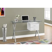 """Monarch Specialties Computer Desk with Tempered Glass, 48""""L, Glossy White (I 7215)"""