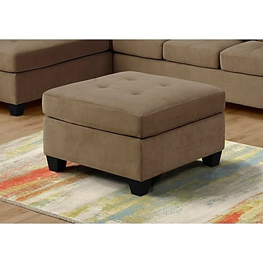 Monarch Specialties Ultra Soft Velvet Ottoman, Light Brown (I 8376LB)