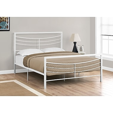 Monarch Specialties Queen Size ,White Metal Bed Frame (I 2640Q)
