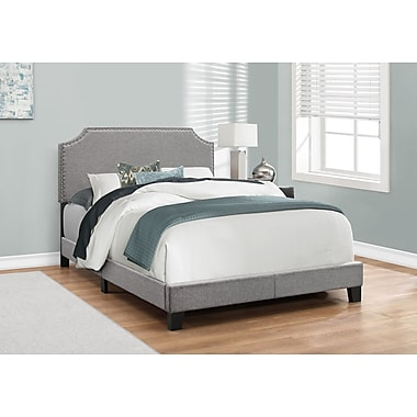 Monarch Specialties Full/Double Size Bed, Grey Linen with Chrome Trim (I 5925F)
