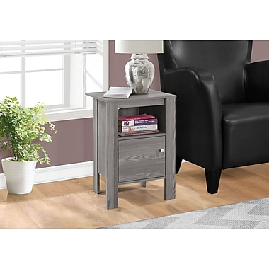 Monarch Specialties Table Night Stand with Storage, Grey (I 2138)