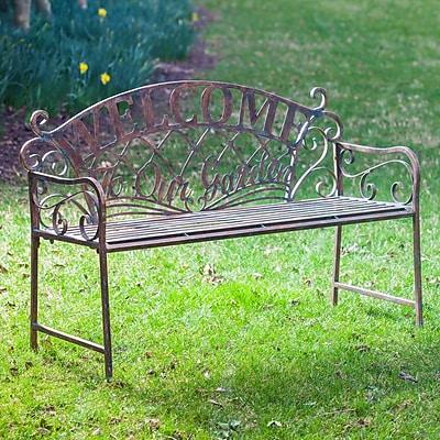 August Grove Hillingdon 'Welcome to our Garden' Metal Garden Bench