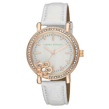 Laura Ashley Ladies White/Floral Stone Bezel Watch