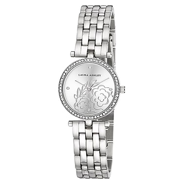 Laura Ashley Silver Five Link Floral Embossed Dial Stone Bezel Watch (LA31021SS)