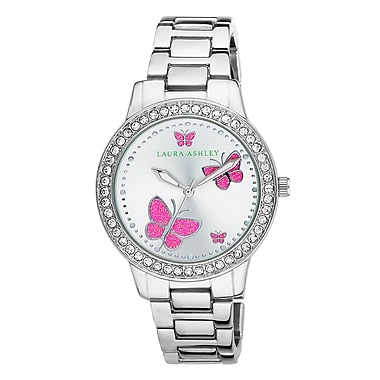 Laura Ashley Ladies Silver Band Pink Butterfly Stone Bezel Watch (LA31015SS)
