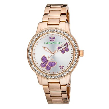 Laura Ashley Ladies Rose Gold Band Purple Butterfly Stone Bezel Watch (LA31015RG)