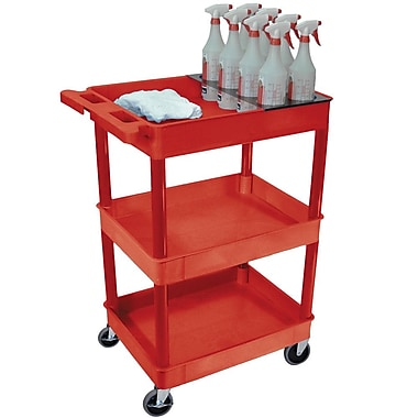 Luxor 2 Shelf Tray Plastic Cart, Red (RCSTC111RD)