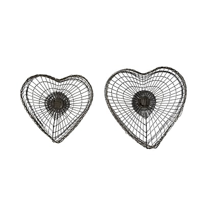 August Grove Heart Hand-Woven Wire Basket (Set of 2)