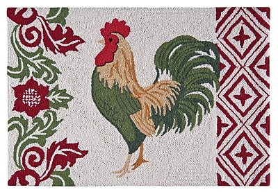 August Grove Cedric Rooster Wool Red Area Rug