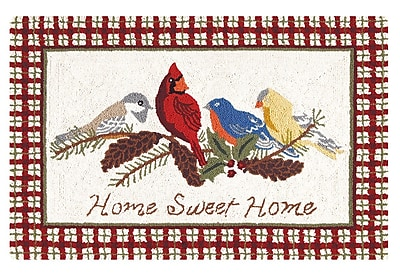 August Grove Allegra Home Sweet Home Wool Red Area Rug
