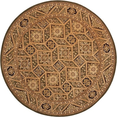 Bloomsbury Market Plantation Traditional Hand Woven Wool Tan Indoor Area Rug; Round 6'