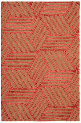 Brayden Studio Jandreau Hand-Tufted Latte/Red Area Rug; 8' x 10'
