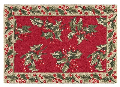 Charlton Home Armentrout Holly Christmas Wool Red Area Rug